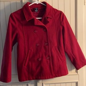 Girls red double breasted pea coat